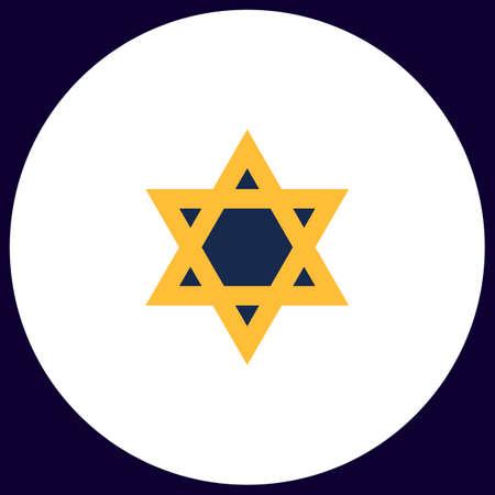 David Star Simple vector button. Illustration symbol. Color flat icon