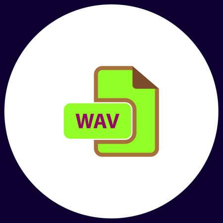 wav: WAV Simple vector button. Illustration symbol. Color flat icon