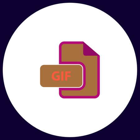 gif: GIF Simple vector button. Illustration symbol. Color flat icon