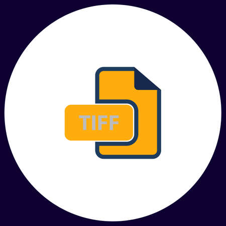 tiff: TIFF Simple vector button. Illustration symbol. Color flat icon