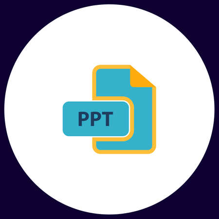 ppt: PPT Simple vector button. Illustration symbol. Color flat icon