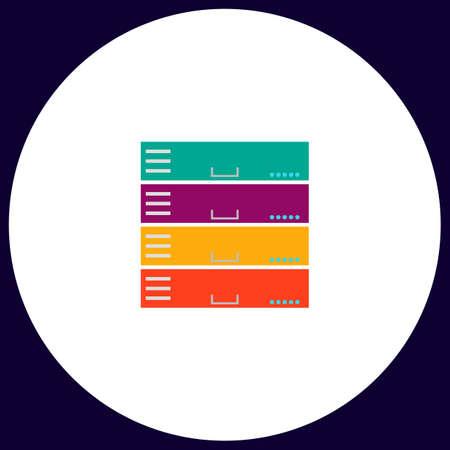 webhosting: Server Simple vector button. Illustration symbol. Color flat icon Illustration