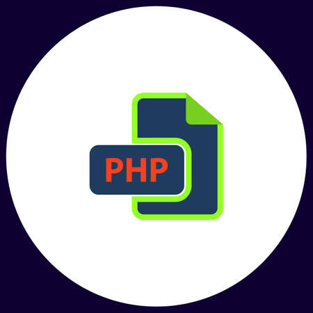 php: PHP Simple vector button. Illustration symbol. Color flat icon