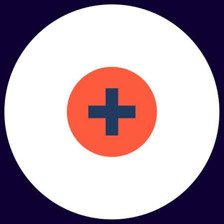 Medical cross Simple vector button. Illustration symbol. Color flat icon Illustration