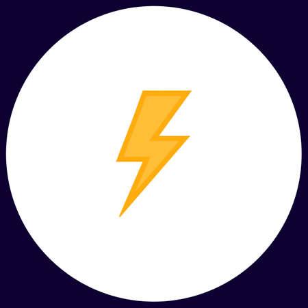 lighting button: lighting bolt Simple vector button. Illustration symbol. Color flat icon Illustration