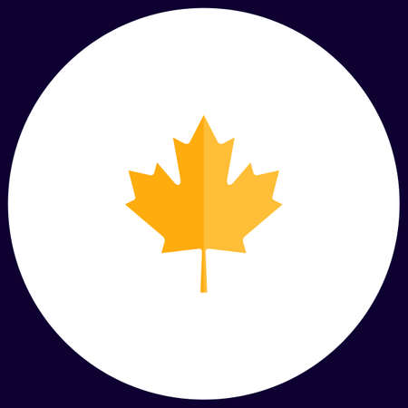 edmonton: Canadian Leaf Simple vector button. Illustration symbol. Color flat icon