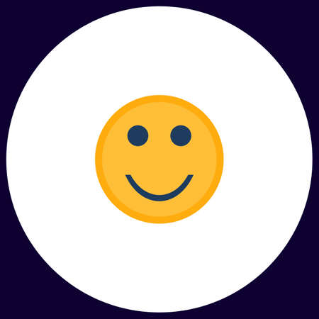 Happy face Simple vector button. Illustration symbol. Color flat icon