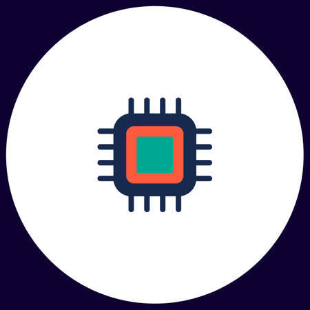cpu Simple vector button. Illustration symbol. Color flat icon