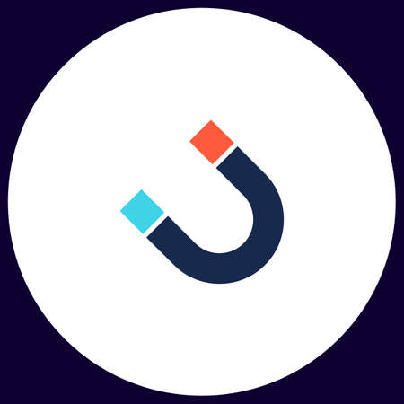 magnetism: magnetism Simple vector button. Illustration symbol. Color flat icon