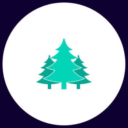 chritmas spruce Simple vector button. Illustration symbol. Color flat icon Illustration