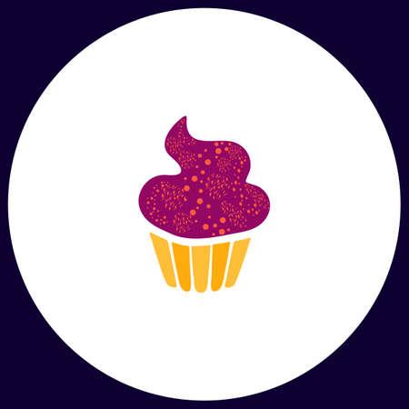 designer baby: Sweet cupcake Simple vector button. Illustration symbol. Color flat icon Illustration