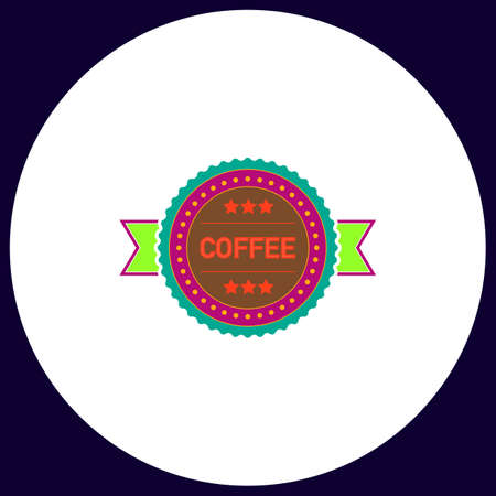Coffee label Simple vector button. Illustration symbol. Color flat icon