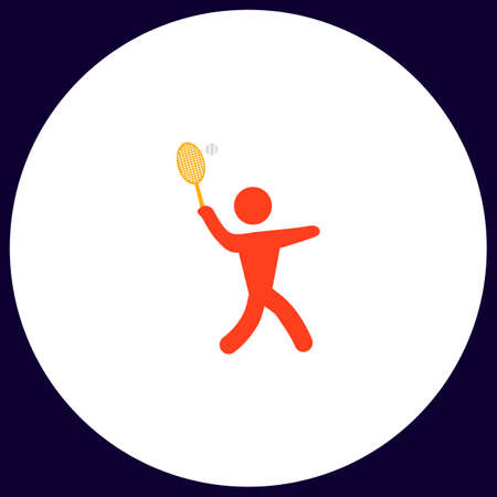 active content: tennis Simple vector button. Illustration symbol. Color flat icon