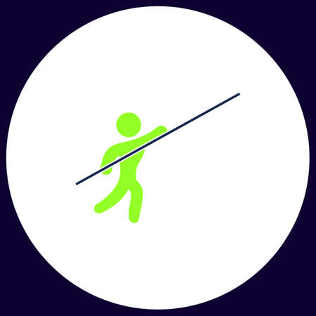 Pole vault Simple vector button. Illustration symbol. Color flat icon
