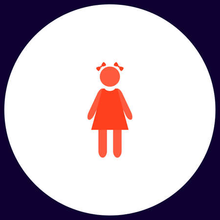 simple girl: girl Simple vector button. Illustration symbol. Color flat icon