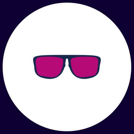 Glasses Simple vector button. Illustration symbol. Color flat icon