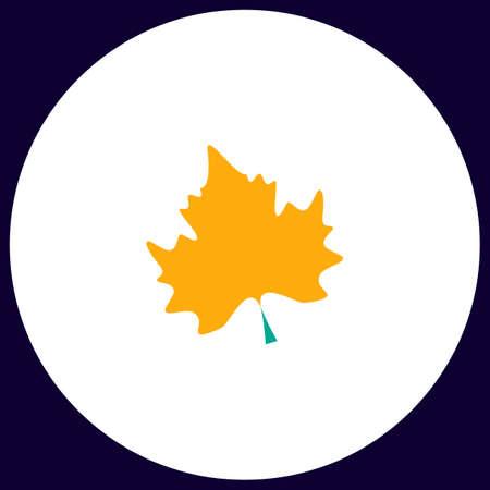Maple Leaf Simple vector button. Illustration symbol. Color flat icon