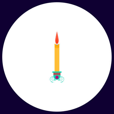 candle Simple vector button. Illustration symbol. Color flat icon