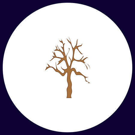 dead tree: Old Tree Simple vector button. Illustration symbol. Color flat icon