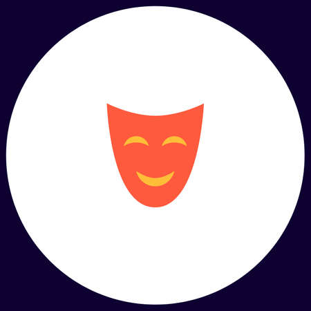 comedy mask: comedy mask Simple vector button. Illustration symbol. Color flat icon