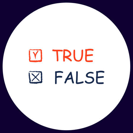 validity: True and False Simple vector button. Illustration symbol. Color flat icon