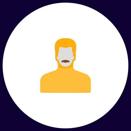 mustached: mustached man Simple vector button. Illustration symbol. Color flat icon