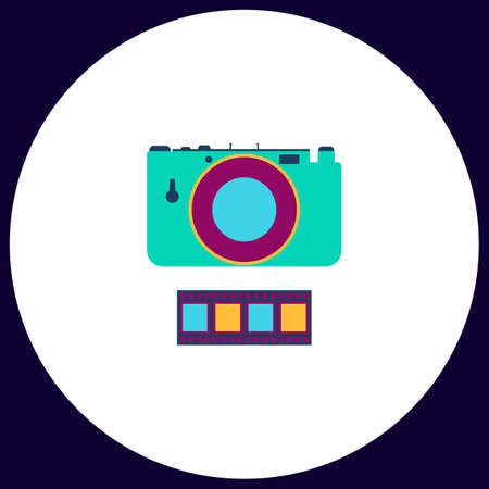 journalistic: Camera Simple vector button. Illustration symbol. Color flat icon Illustration