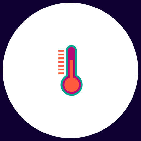 temperature meter Simple vector button. Illustration symbol. Color flat icon