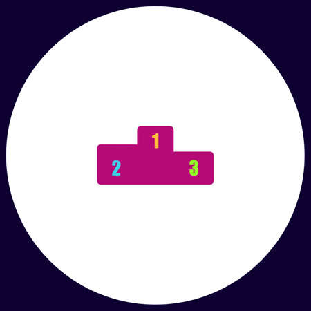 Pedestal Simple vector button. Illustration symbol. Color flat icon