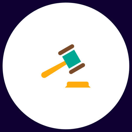 judge gavel: Judge gavel Simple vector button. Illustration symbol. Color flat icon Illustration