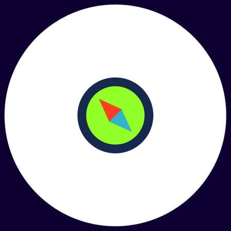 Compass Simple vector button. Illustration symbol. Color flat icon Illustration