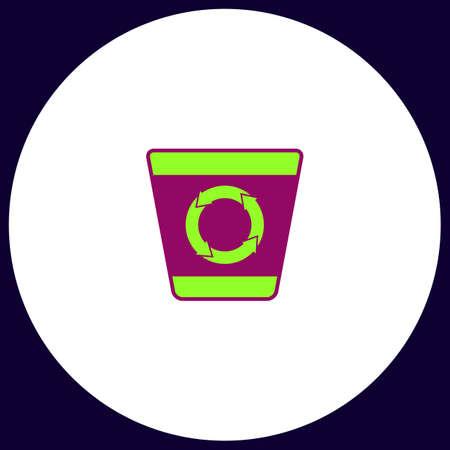 papelera de reciclaje: Recycle bin Simple vector button. Illustration symbol. Color flat icon