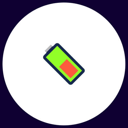 Battery Simple vector button. Illustration symbol. Color flat icon
