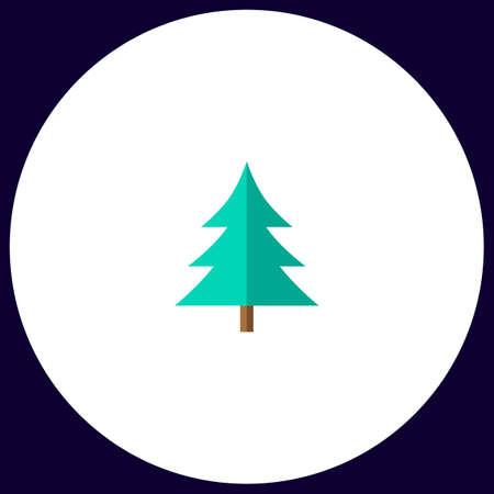 christmas tree Simple vector button. Illustration symbol. Color flat icon