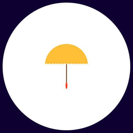 brolly: bumbershoot Simple vector button. Illustration symbol. Color flat icon