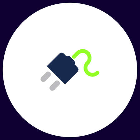 Power cord Simple vector button. Illustration symbol. Color flat icon