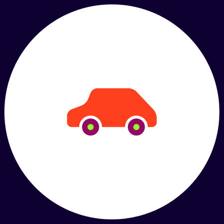 Toy Car Simple vector button. Illustration symbol. Color flat icon