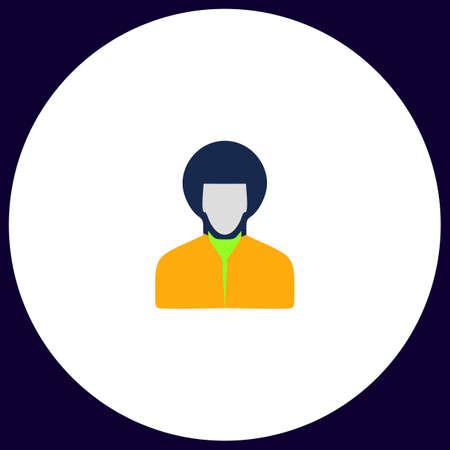 Male avatar Simple vector button. Illustration symbol. Color flat icon