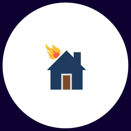 house on fire: house fire Simple vector button. Illustration symbol. Color flat icon Illustration