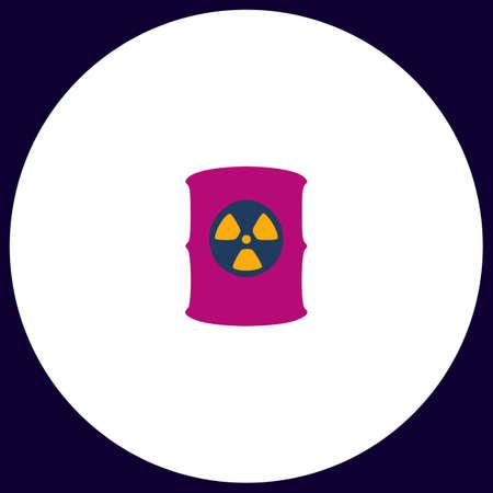 radioactive symbol: Radioactive waste Simple vector button. Illustration symbol. Color flat icon