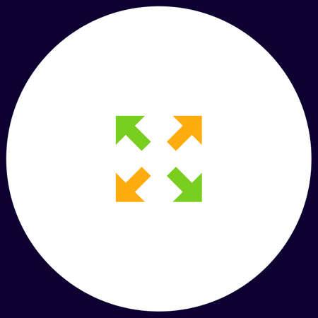geocache: four arrows Simple vector button. Illustration symbol. Color flat icon