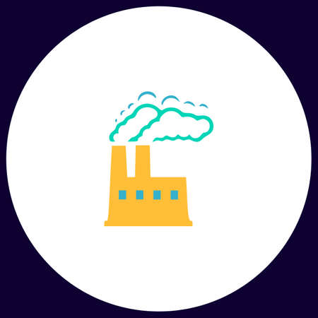 power plant Simple vector button. Illustration symbol. Color flat icon