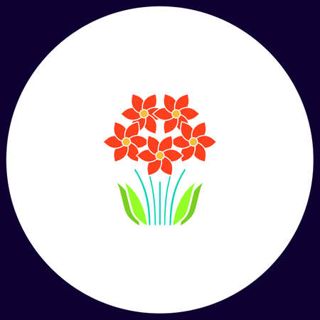 flowers Simple vector button. Illustration symbol. Color flat icon