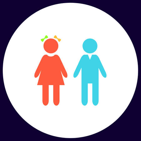 simple girl: girl and boy Simple vector button. Illustration symbol. Color flat icon Illustration