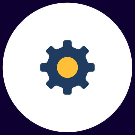 cog wheel Simple vector button. Illustration symbol. Color flat icon