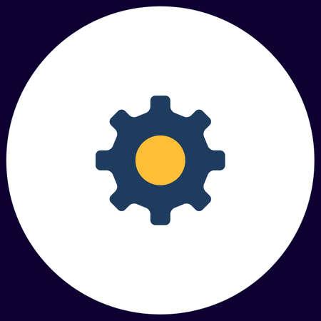 cog wheel Simple vector button. Illustration symbol. Color flat icon