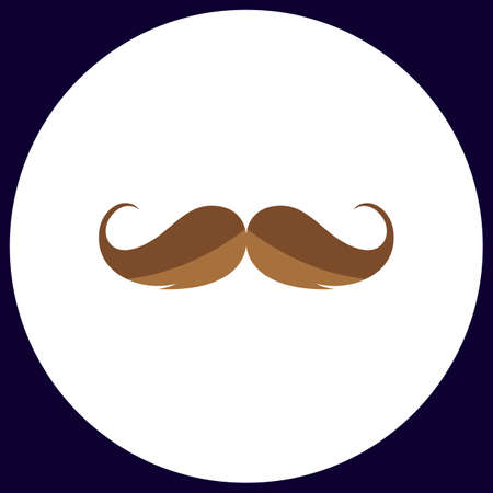 chaplin: Mustache Simple vector button. Illustration symbol. Color flat icon