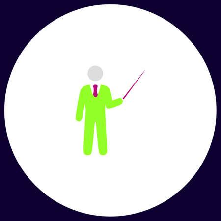 Teacher Simple vector button. Illustration symbol. Color flat icon