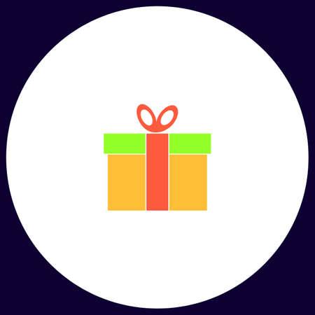 Geschenkdoos Eenvoudige vector knop. Illustratie symbool. Kleur platte pictogram