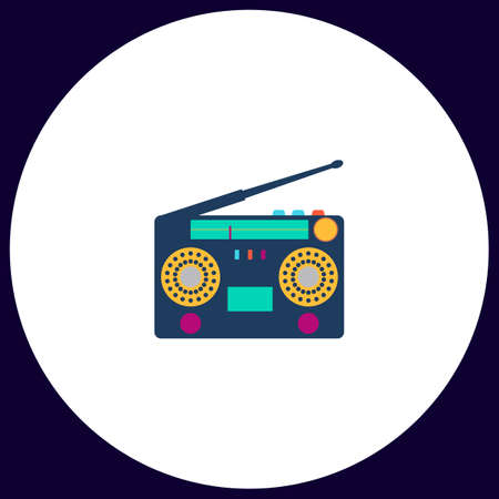 boombox: boombox Simple vector button. Illustration symbol. Color flat icon